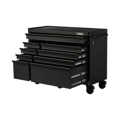 Industrial 52 in. W x 21.7 in. D 9-Drawer Tool Chest Rolling Cabinet in Matte Black