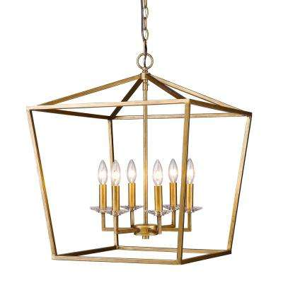 Kennedy Indoor 6-Light Antique Gold Chandelier with Crystal Bobeches