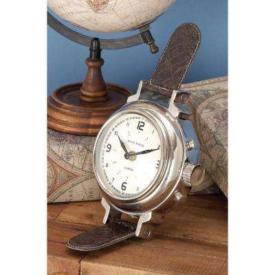 9 in. x 5 in. Classic Alumium and Plastic Wristwatch-Style Table Clock