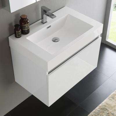 Mezzo 30 in. Vanity in White with Acrylic Vanity Top in White with White Basin and Mirrored Medicine Cabinet