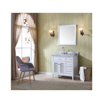 Kensington 37 in. Bath Vanity in White with Marble Vanity Top in Carrara White with White Basin
