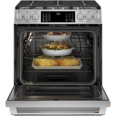 30 in. 5.7 cu. ft. Smart Slide-In Dual Fuel Range with Steam-Cleaning Convection Oven in Stainless Steel