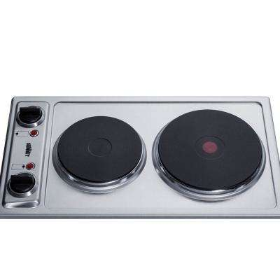 12 in. Solid Disk Electric Cooktop in Stainless Steel with 2 Elements