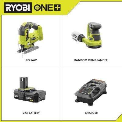 18-Volt ONE+ Cordless Orbital Jig Saw and 5 in. Random Orbit Sander with 2.0 Ah Battery and Charger