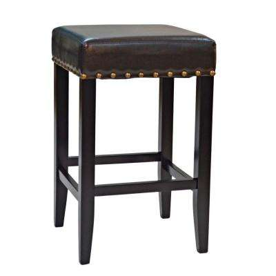25 in. Romero Upholstered Nail Head Counter Stool in Black