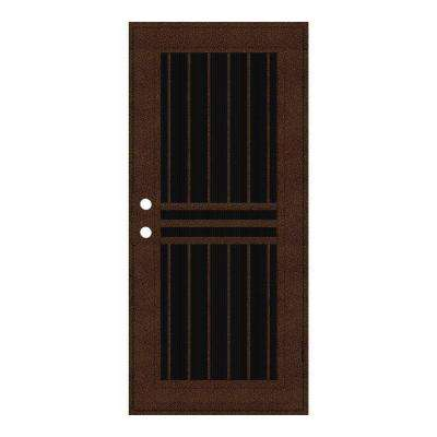 Plain Bar Copperclad Surface Mount Aluminum Security Door With Charcoal Insect Screen