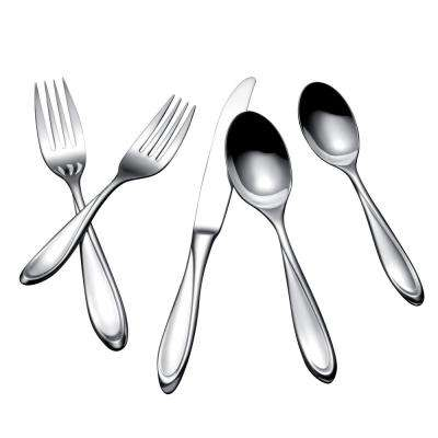 Escapade 20-Piece Polished Silver Stainless Steel Flatware Set Service for 4
