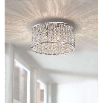 11.5 in. 3-Light Polished Chrome and Crystal Drum Shape Flush Mount