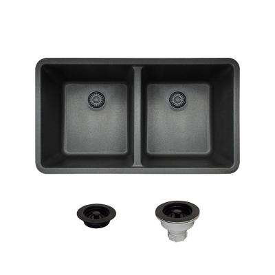 All-in-One Undermount Composite 32-1/2 in. Double Bowl Kitchen Sink in Black