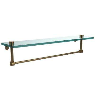 22 in. Glass Vanity Shelf with Integrated Towel Bar in Brushed Bronze