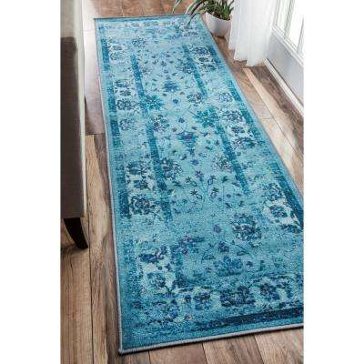 Vintage Tosha Turquoise 2 ft. 6 in. x 12 ft. Runner Rug