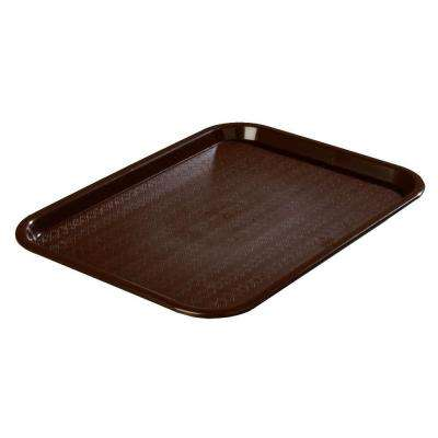 10.75 in. x 13.87 in. Polypropylene Cafeteria/Food Court Serving Tray in Chocolate Brown (Case of 24)