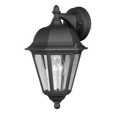 1-Light Outdoor Painted Black Wall Lantern with Clear Glass Panels