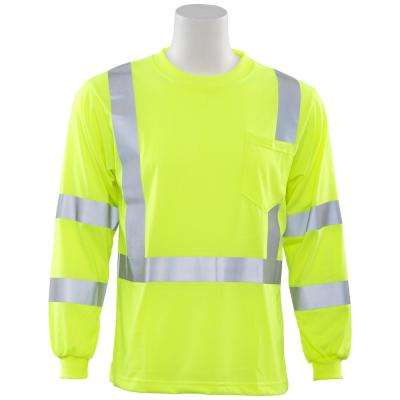 9802S Class 3 Long Sleeve Hi Viz Lime Poly Jersey Knit T-Shirt