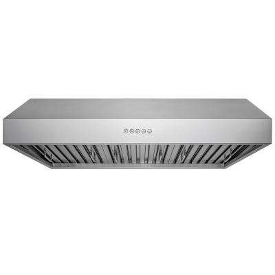 36 in. Kitchen Under Cabinet Range Hood in Stainless Steel with LED Lights and Touch Panel Control