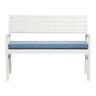 Lake Carolina Picket Fence 2-Seat Outdoor Patio Bench with Periwinkle Cushion