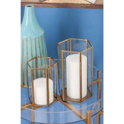 Large: 10 in; Medium: 8 in; Small: 6 in. Gold and Clear Glass Hexagonal Prism Candle Holders (Set of 3)
