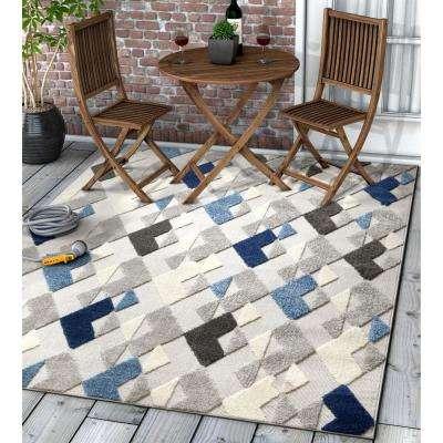 Dorado Beni 7 ft. 10 in. x 9 ft. 10 in. Modern Geometric Mosaic Blue High-Low Indoor/Outdoor Area Rug