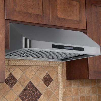900 cfm under cabinet touch screen range hood in stainless steel