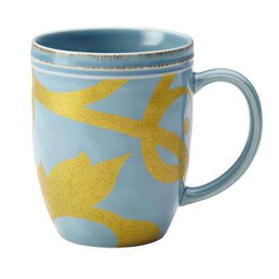 Dinnerware Gold Scroll 12 oz. Stoneware Beverage Mug in Agave Blue