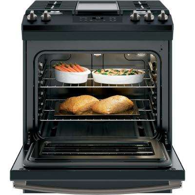 5.3 cu. ft. Slide-In Gas Range with Steam-Cleaning Oven in Black Slate, Fingerprint Resistant