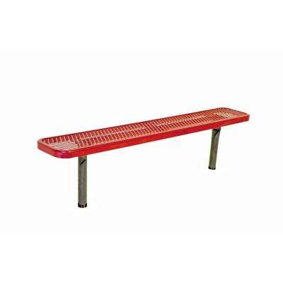 6 ft. Diamond Red Commercial Park Bench without Back Surface Mount