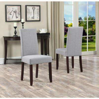 Acadian Linen Look Fabric Parson Chair in Dove Grey (2-Pack)
