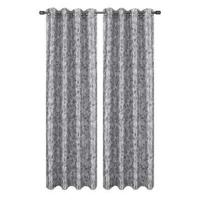 Pinehurst Printed Faux Silk Charcoal Room Darkening Grommet Extra Wide Curtain Panel, 54 in. W x 84 in. L