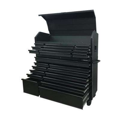 56 in. 23-Drawer Tool Chest and Rolling Cabinet Set 18 Ga. Steel 22 in. D, Textured Black Matte