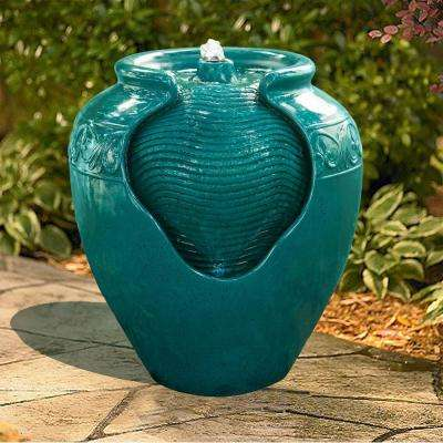 Outdoor Glazed Urn Pot Floor Fountain with LED Light in Teal