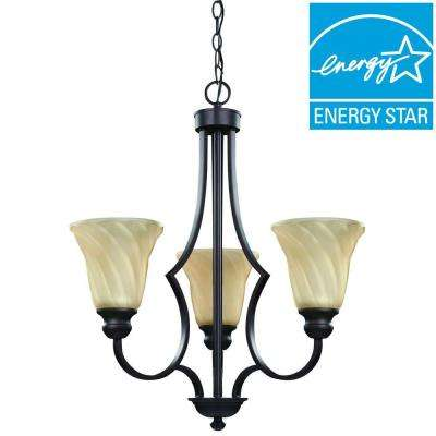 Allyson 3-Light Oil Rubbed Bronze Energy Star Chandelier with Amber Swirl Glass