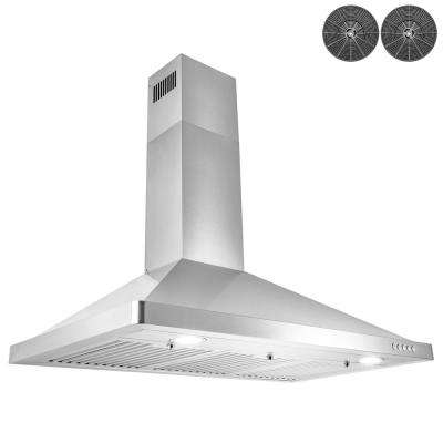 36 in. Convertible Wall Mount Range Hood with LEDs and Carbon Filters in Stainless Steel