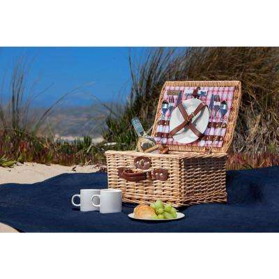 Catalina Red & White Wood Picnic Basket
