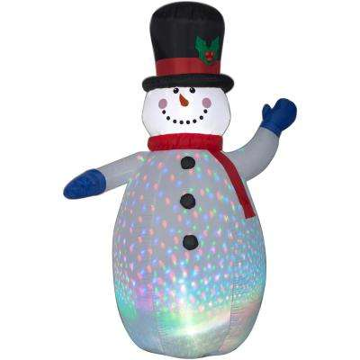 6.5 ft. Inflatable Airblown Color Flash Snowman with Red and White Scarf (RGB)
