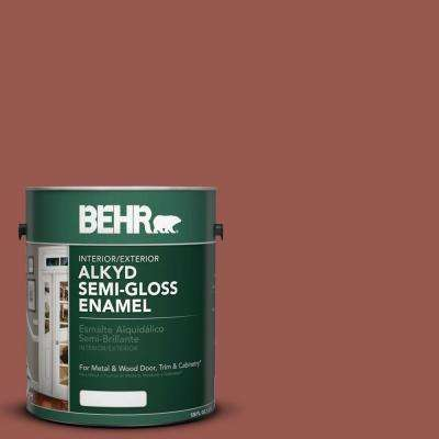 1-gal. #AE-12 Oxide Red Semi-Gloss Enamel Alkyd Interior/Exterior Paint