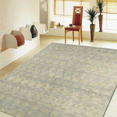 Oushak Distressed Gray / Blue 8 ft. x 10 ft. Plush Indoor Area Rug