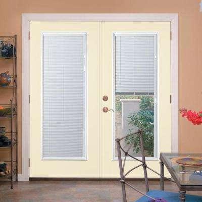 Prehung Mini Blind Primed Smooth Fiberglass Patio Door with Brickmold