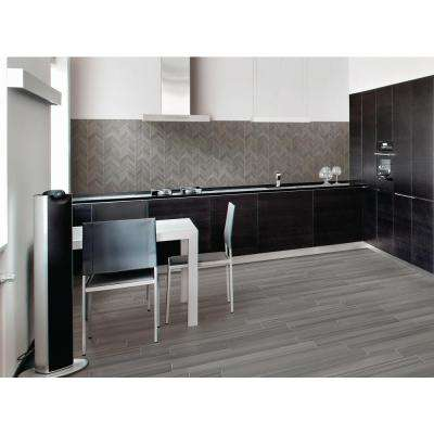 Water Color Graphite 6 in. x 36 in. Glazed Porcelain Floor and Wall Tile (13.5 sq. ft. / case)