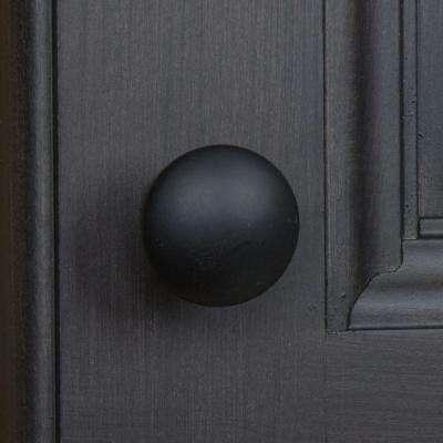 1 in. Dia Matte Black Round Convex Cabinet Knob (10-Pack)