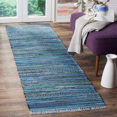 Rag Rug Blue/Multi 2 ft. 3 in. x 11 ft. Runner Rug