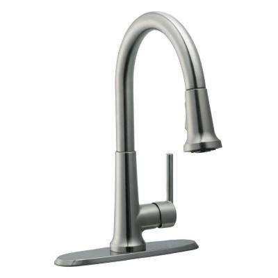Geneva Single-Handle Pull-Down Sprayer Kitchen Faucet in Satin Nickel