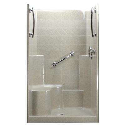 48 in. x 37 in. x 80 in. 1-Piece Low Threshold Shower Stall in Beach, Grab Bars, Left Hand Side Seat, Center Drain