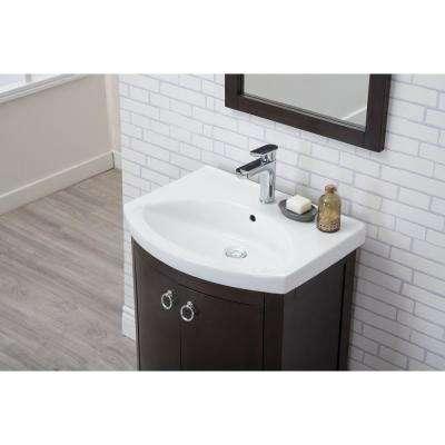 Sonoma 28 in. Single Bathroom Vanity with 2-Doors Porcelain Top Porcelain Sink in Dark Walnut Finish