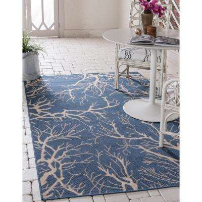 Outdoor Branch Navy Blue 9' 0 x 12' 0 Area Rug