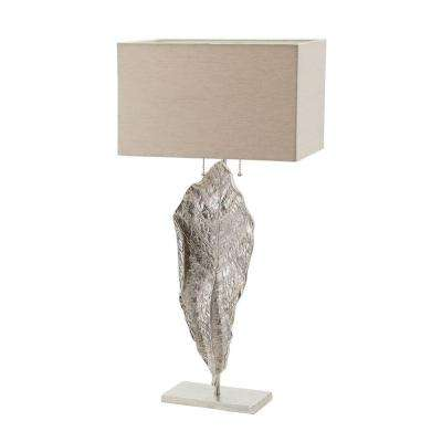 Leaf 35 in. Nickel Tall Table Lamp with Natural Linen Shade