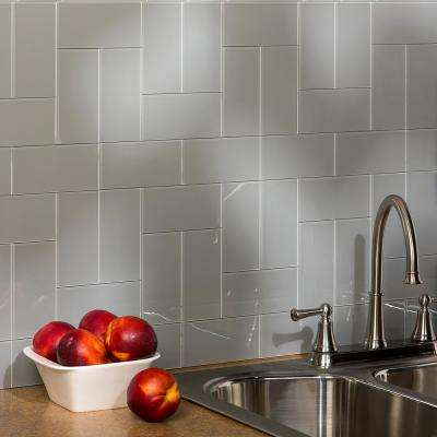 6 in. x 3 in. Glass Decorative Wall TileSteel (8-Pack)