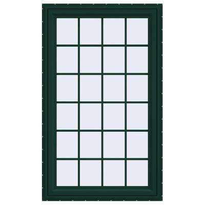 35.5 in. x 59.5 in. V-4500 Series Left-Hand Casement Vinyl Window with Grids - Green