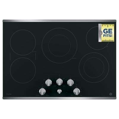 GE Profile 30 in. Radiant Electric Cooktop in Stainless Steel with 5 Elements including Power Boil GE Profile