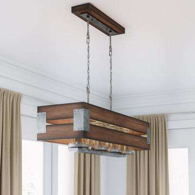 Ackwood 7-Light Dark Wood Rectangular Chandelier with Clear Seeded Glass Shades