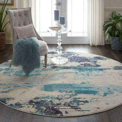 Celestial 8 ft. Round Blue and White Beach Area Rug